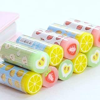 Grekywin Kawaii Cute Fruit Rubbers Pencil Erasers for Kids, Students 6 pcs