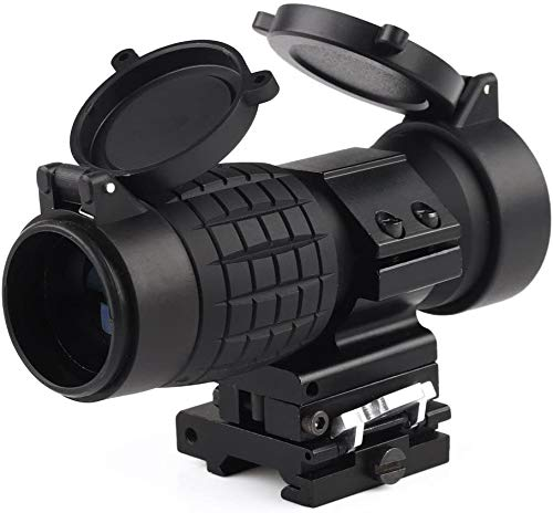 VERY100 Tactical 3X Magnifier Scope Sight with Flip to Side 20mm Rail Mount Scopes with Lens Cover