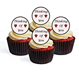 Decoración comestible para cupcakes con diseño de texto en inglés 'Thinking of You', 24 unidades