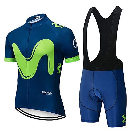 Hi!Hi Conjunto Jersey Ciclismo para Hombre,Camisetas De MTBPantalones Cortos Baberos De Ciclismo Transpirables Que Absorben La Humedad con Gel 20D