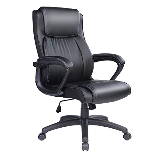 Qulomvs Executive Office Chair with arms High Back Computer Ergonomic Desk Chair 300lbs PU Leather Task Chair 360 Swivel with Wheels (Black)