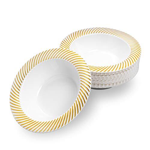 Matana 20 Cuencos de Plástico Blanco con Borde Dorado, 18cm - Platos...