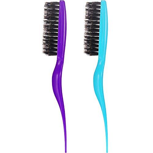 2 pièces brosse à soies de sanglier cuillère à café brosse peigne de salon (Violet + bleu)