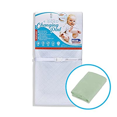"""[Combo Pack]LA Baby Waterproof 4 Sided Changing Pad 32"""" & Mint Terry Cover - Made in USA. Easy to Clean, Non-Skid Bottom, Safety Strap, Fits All Standard Changing Tables for Best Diaper Change"""