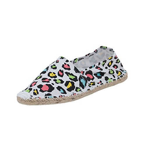 Japanwelt Damen Espadrilles Canvas Leoparden Muster Sommer Leo Slipper Viele Farben Größe 36