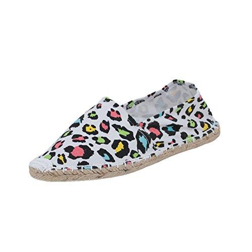 Japanwelt Damen Espadrilles Canvas Leoparden Muster Sommer Leo Slipper Viele Farben Größe 40