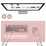 AtailorBird Mouse Pad 5Pcs Set, 800x400mm PU Leather Desk Pad& Ergonomic Memory Foam Keyboard Wrist Pad&Mouse Wrist Rest for Laptop Office Online Study, Including 2 Free PU&Cork Coaster, Pink