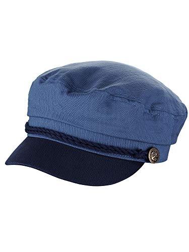 NYFASHION101 Unisex 100% Cotton Greek Fisherman Sailor Fiddler Driver Cap Hat, Indigo Blue/Navy