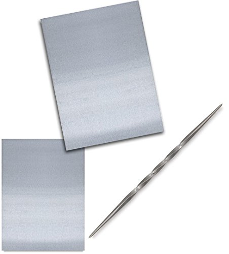Etching Plate Toolkit 2 Zinc Plate Polished Sizes & Twisted Etching Needle Tool for fine Lines Solid Steel Double Sided (Small)