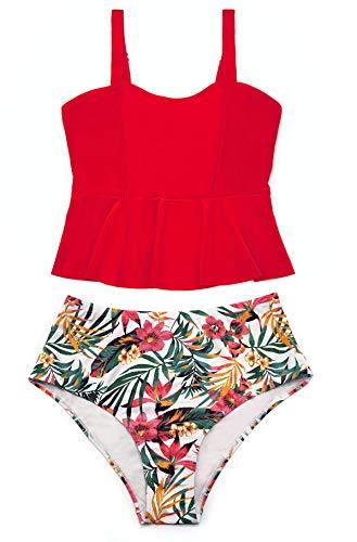 SHEKINI Donna Tankini Due Pezzi Elegante Balze Tankini Bikini Set Costumi da Bagno Due Pezzi con Stampati Vintage Vita Alta Triangolo Bottoms Bikini da Spiaggia (S, Rosso)