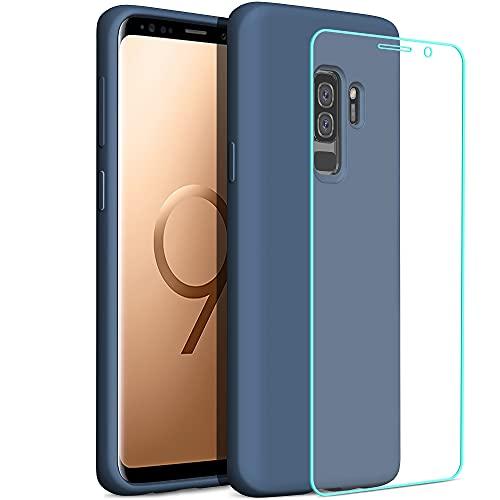 YATWIN Compatibile con Cover Samsung Galaxy S9 Plus 6,2'' + 1 Pezzi Pellicola Protettiva, Cover Samsung S9 Plus Case Silicone Liquido, Protezione Completa del Corpo con Fodera in Microfibra, Blu