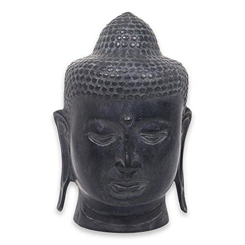 NOVICA Buddha Head Ii Bronze Statuette