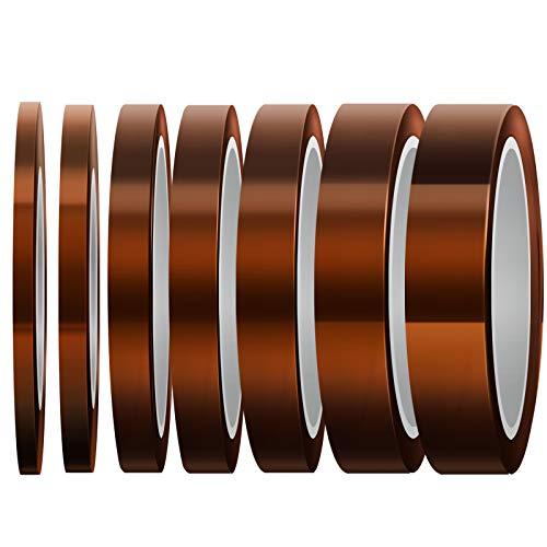 LUTER 7 Rollen Hitzebeständiges Band Hochtemperaturband, Sublimationsband Wärmeband, Für Sublimationsdruck, Wärmeübertragung Und Isolierung Wellenlöten (4 mm/6 mm/8 mm/10 mm/12 mm 20 mm/25 mm x 10 m)