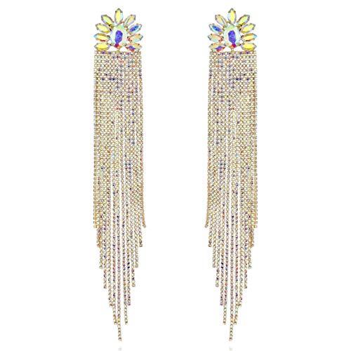 SP SOPHIA COLLECTION Women's Statement Long Floral Austrian Crystal Fringe Tassel Sweeper Post Earrings in Iridescent