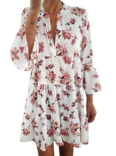 Minetom Damen Kleider Strand Elegant Casual A-Linie Kleid Kurzarm Sommerkleid Boho V-Ausschnitt Polka Dot Tunika Mini Kleid Volantkleid B Rosa XS