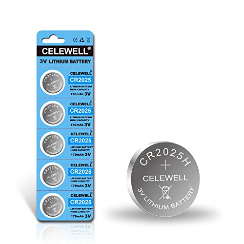 【5-Year Warranty】 CELEWELL CR2025 CR 2025 Lithium Battery High Capacity 170mAh 3V 5 Pack
