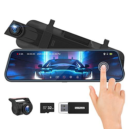"""Spiegel Dashcam, ThiEYE 2.5k+1080P Ultra HD Auto-Videorecorder Vorne Hinten Lens mit 170° Weitwinkel, Super Nachtsicht,10\"""" IPS Touchscreen, Loop-Aufnahme und G-Sensor, Parküberwachung,GPS(Optional)"""