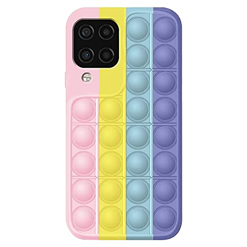 HiChili Push Pop it Fidget Toys Phone Case for Samsung Galaxy A12 5G, Bubble Sensory Fidget Toy Cover, Silicona Phone Case for Smartphone, Avoid Boring Funny Relief Tools, Multicolor