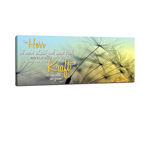 Dalinda® XXL-Wandbild Bibelspruch Bibel Leinwand Leinwandbild mit Spruch Der Herr ist Mein Licht. 100x40cm Keilrahmenbild Kunstdruck Wandbild Panorama Leinwandbild LS129