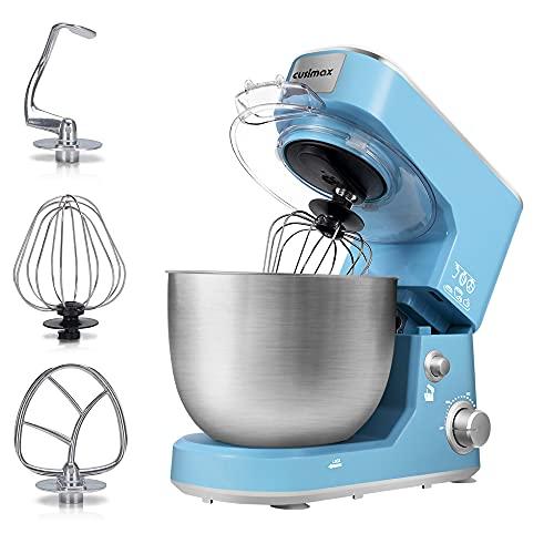Stand Mixer, CUSIMAX Dough Mixer Tilt-Head Electric Mixer with 5-Quart Stainless Steel Bowl, Dough Hook, Mixing Beater and Whisk, Splash Guard, Blue Food Mixer