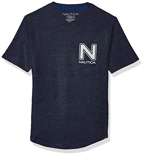 Nautica Jungen Curved Hem Crew Neck Tee Hemd, Sport Navy, Medium