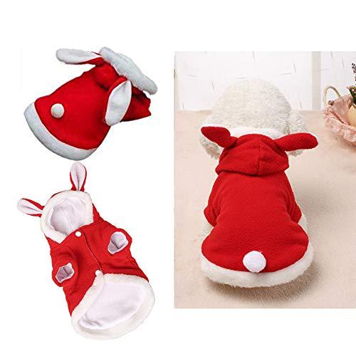 Qiao Niuniu Ostern Bunny Hund Kostüm Puppy Hoodies Kleidung für Kleine Hunde Katzen, Large, Rot