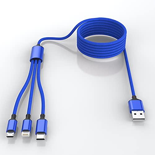 Multi 3 en 1 cable de carga USB largo para iPhone, cable de carga universal trenzado de nailon de 1.8m/6ft USB C/Micro USB/conector Lightning adaptador para Android/Apple/Samsung/Huawei/XiaoMi (azul)