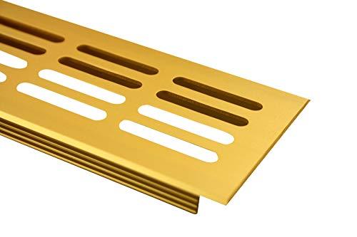 MS Beschläge Lüftungsgitter Stegblech Lüftung aus Aluminium 60mm x 400mm in verschiedenen Farben (Gold eloxiert - F3)