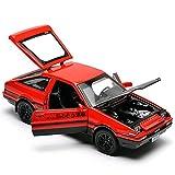 Kit Juguetes Coches Metal Resistente 1:32 para Toyota AE86, Modelo De Coche, Aleación De Zinc, Fundición, Vehículos De Juguete Maravilloso Regalo (Color : Rojo)