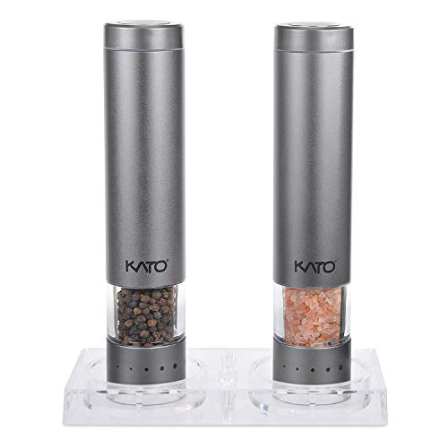 Kato Electric Salt and Pepper Grinders Set - Battery Operated, Stainless Steel, Automatic Pepper Shaker Mill with Led Light and Adjustable Coarseness for Flavor & Seasoning, Pack of 2