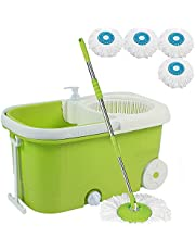 V-Mop Elite Plastic Magic Bucket Mop with Wheel + 5 Microfibers((Made in India))