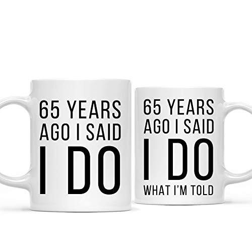 Andaz Press Funny 65th Wedding Anniversary 11oz. Couples Coffee Mug Gag Gift, 65 Years Ago I Said I Do, I Said I Do What I'm Told, 2-Pack with Gift Box for Husband Wife Parents