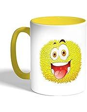 Printed Coffee Mug, Yellow Color, Colorful Monster (Ceramic)