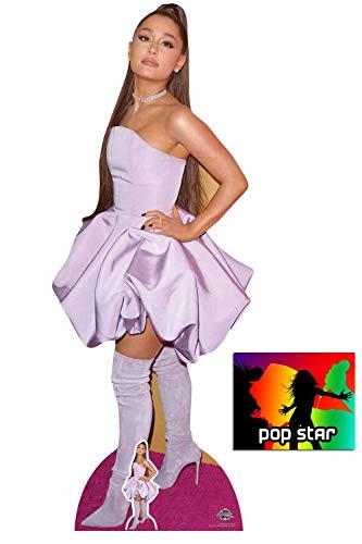 BundleZ-4-FanZ Ariana Grande Lila Kleid Lebensgrosse und klein Pappfiguren/Stehplatzinhaber/Aufsteller Fan Pack, 163cm x 62cm Enthält 8X10 (25X20Cm) starfoto