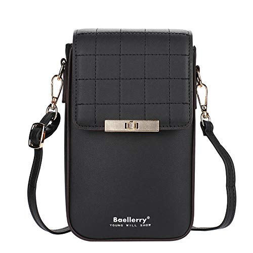 Strimm Ladies Female Women Leather All in One Crossbody Phone Bags with Card Slots Cell Phone Wallet Purse Shoulder Handbag Printing Long Wallet