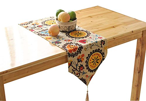 Alien Storehouse 1pc kreativen mediterranen Stil Tischläufer Baumwolle Table Top-Dekoration-Blume
