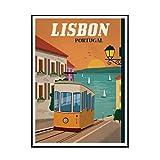 IUYTRF Vintage Lisboa Portugal pintura lienzo póster imágenes artísticas de pared para la decoración del hogar de la sala de estar -50X70 cm sin marco 1 Uds