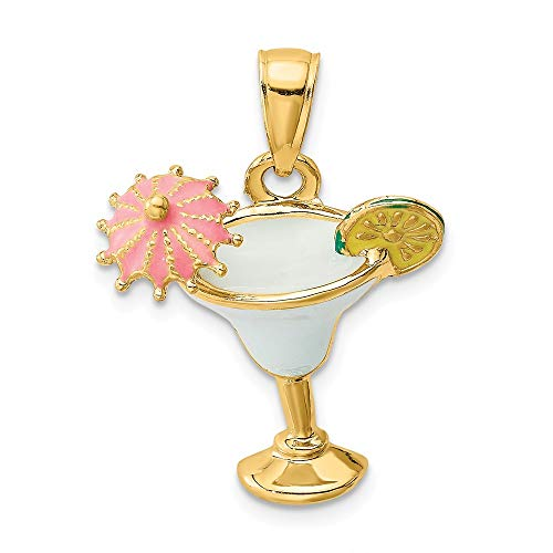 FB Jewels 14K Yellow Gold Ice Blue Margarita Drink with Lavender Umbrella and Lime 2D Pendant (0.78 x 0.73 inches)