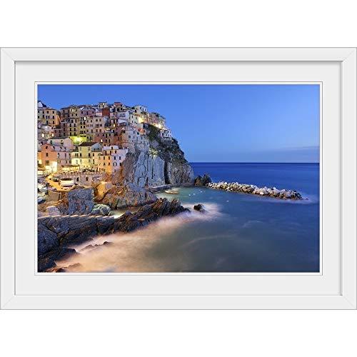 """GREATBIGCANVAS Italy, Cinque Terre, La Spezia Province White Framed Wall Art Print, 36""""x24""""x1"""""""