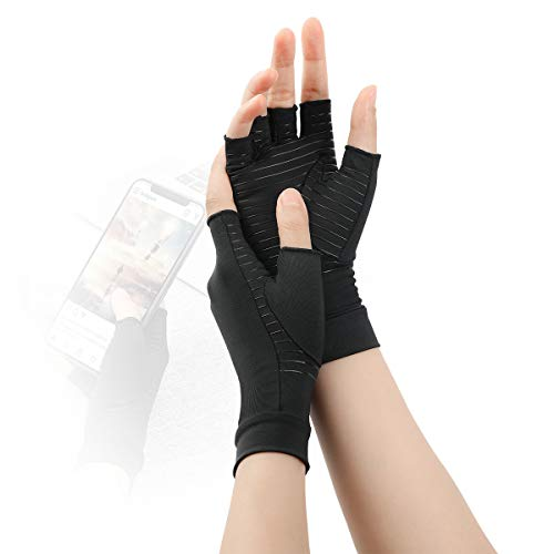 Tikaton Arthritis Gloves Compression Gloves for Women and Men, Carpal Tunnel Pain Relief, Fingerless Gloves Support for Hands (Black, Large)