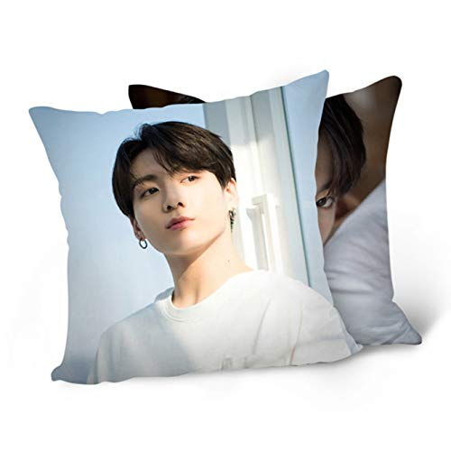 Plaers Likable Kpop White Valentine Square Throw Pillow Cover Pillowcase Photo Printing Double Side( H02)