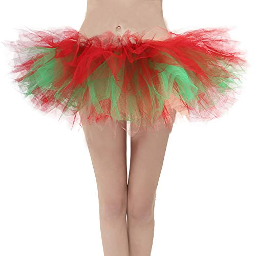 Topdress Layered Tulle Tutu Skirts Red Green Xmas Regular Sizing