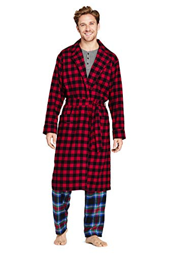 Lands' End Men's Flannel Robe Large Rich Red Check