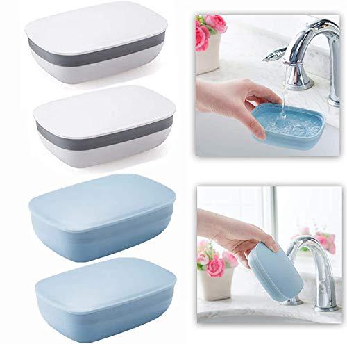 Fiyuer jabonera baño de Viaje Silicona, 4 pcs Caja de jabon plastico