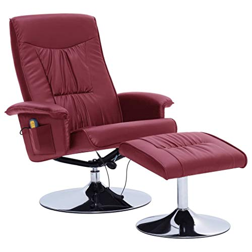 vidaXL Sillón Masaje Reclinable y Reposapiés Cuero Sintético Relax Muebles Interior Casa Hogar Diseño Estético Ergonómico Duradero Vino Tinto