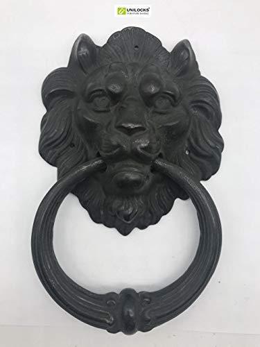 Qingsb Gran aldaba de león de latón Antiguo Aldaba de Puerta Aldaba de Cabeza de león Leones Decoración del hogar, Bronce