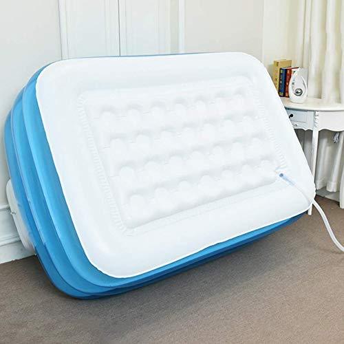 XL Blue Color Inflatable Bathtub Plastic Portable Foldable Bathtub Soaking Bathtub Home SPA Bath, 160x120x60cm