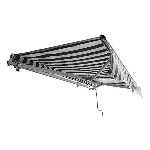 TolleTour Gelenkarmmarkise Markise Sonnenmarkise, 3,5 x 3 m, Sonnenschutz UV-beständig und wasserfest, mit Handkurbel, für Balkon und Veranda, Weiß Grau