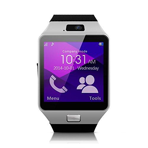 Memteq Bluetooth Smartwatch, 1,54 Zoll Touchscreen (4cm), Kamera (1,3MP) für Android-Smartphones, Silber