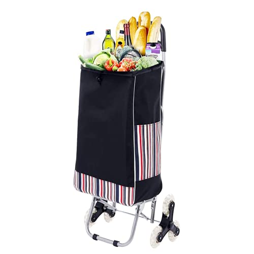 Folding Shopping Cart Grocery Utility Lightweight Stair Climbing Cart with Rolling Swivel Wheels and Removable Waterproof Canvas Bag (Removable Bag Included)
